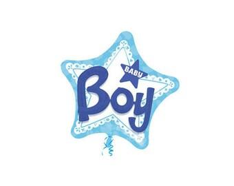 "Giant 36"" Baby Boy Foil Balloon - blue star baby shower"