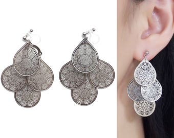 Silver Clip On Earrings Filigree Teardrop Invisible Clip On Earrings Bohemian Pear Clip On Earrings Boho Clip On Earring Dangle Clip-ons