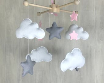 Baby mobile - moon and star mobile - cloud mobile - sky mobile - star mobile - simple mobile - baby mobiles