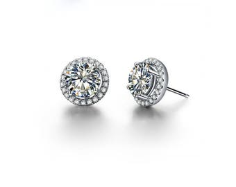 Round Circle Cubic Zirconia Simulated Diamond Halo White Gold Stud Earrings