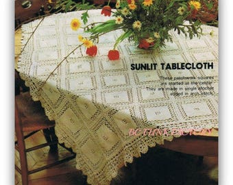 Crochet Tablecloth Pattern Vintage Square cut Table Cover Home Decor Crochet Pattern Instant Download on BC Funk Factory