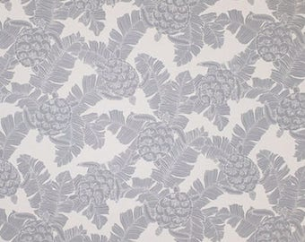 Fabric Tropical Silver Turtle Cotton Poplin, Twill Barkcloth Outdoor Leaf Nature Turtle Polynesian Island Upholstery Sewing Craft