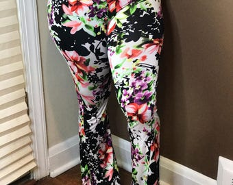 Colorful floral bell bottoms