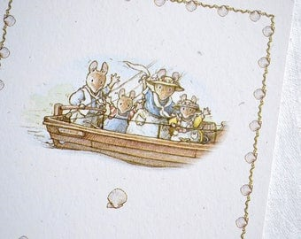 Brambly Hedge Note Card - Bon Voyage Mice In Boat Waving Goodbye - Unused with Envelope