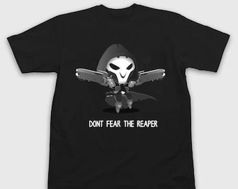 """YOUTH SIZE - Overwatch Tee - Overwatch """"don't fear the reaper black and white"""""""