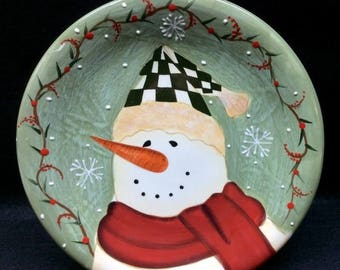 ON SALE Certified International SNOWMAN Salad Plate Becca Barton Design Dinnerware Snowman with Carrot Nose Holly on Rim Mint Condition