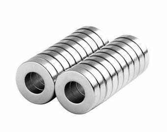 1/2 x 1/4 x 1/8 Inch Strong Neodymium Rare Earth Ring/Donut Magnets N48 (20 Pack)