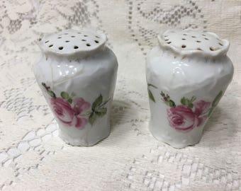 Porcelain Salt/Pepper Shakers Roses