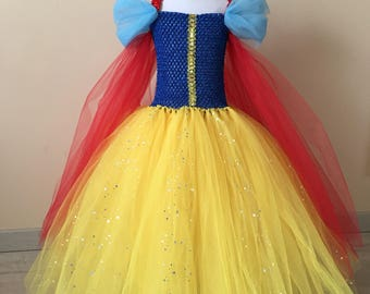 Robe tutu blanche neige , tutu dress snow white 4, 6 years