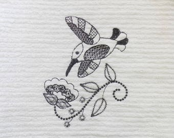 Hummingbird and Flower Blackwork Embroidered Ribbed Kitchen Bar Mop Towel