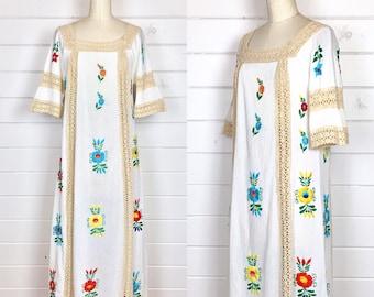 Vintage 1970s Cream Cotton Mexican Maxi Dress / Crochet Trim / Rainbow Floral / Bell Sleeves / Bohemian