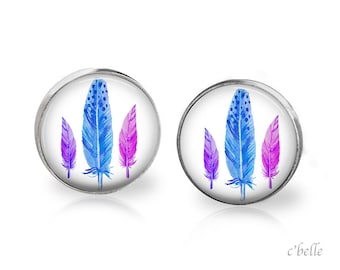 Earrings feather feather - 25