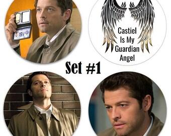 """Set of 4 Misha Collins Large 2.25"""" Pinback Buttons or Magnets - Choose Your Favorite Set Castiel Supernatural"""
