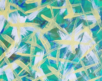 "Green, Blue, White and Yellow Original Acrylic Abstract Painting on Canvas Panel ""Series 8 XXIV"" Wall Art, Wall Hanging, Modern Art"