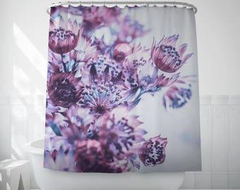 Purple Flowers Bath Decoration, Floral Shower Curtain, Bathroom Curtains, Purple Shower Curtain, Bath Set, Shower Accessories