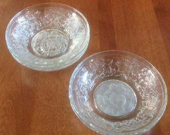 Princess House FANTASIA Small Dessert / Berry Bowls (Frosted Center)