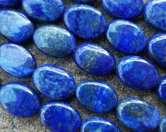 "Natural Lapis Lazuli Oval Beads 14mm x 10mm x 5mm - 15.3"" Strand"