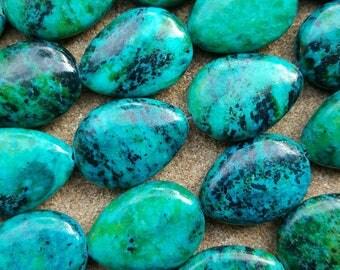 "Natural Chrysocolla 29mm x 21mm Teardrop Flat Beads, Dyed, - 15"" Strand"