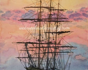 Clipper ship watercolor print. Ship painting. Watercolor sunset. Nautical decor. Watercolor art. Ship wall art. Ship picture. Ship artwork.