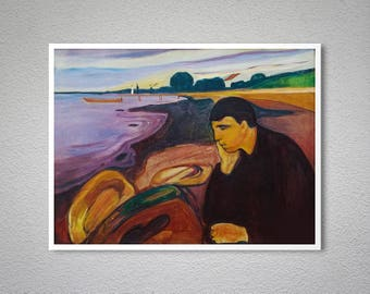 Melancholy on the Beach by Edvard Munch, 1901 - Poster Paper, Sticker or Canvas Print