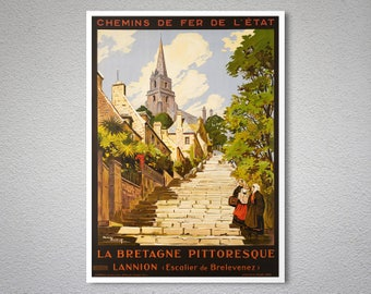 La Bretagne Pittoresque Vintage Travel Poster -  Poster Paper, Sticker or Canvas Print / Gift Idea