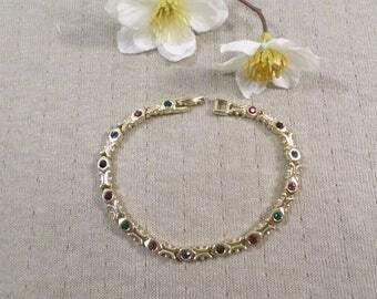 Beautiful Vintage Gold Tone Rhinestone Link Bracelet  DL#3293