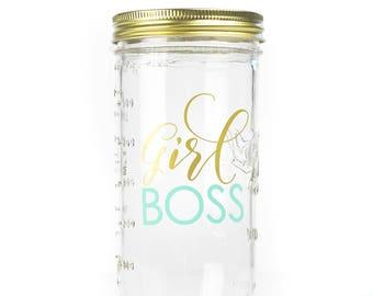 Girl Boss Drinking Jar