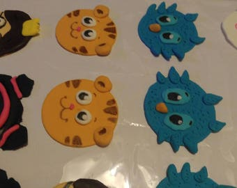 Daniel tiger fondant cupcake toppers, kids birthday party decorations. with O the Owl, Katerina Kittycat, Prince Wednesday and Miss Elaina