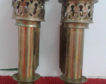 Vintage Brass Candle Wall Sconces/  Marked Interpur Taiwan