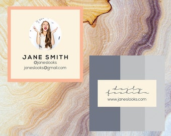 Modern Square Pink & Grey Business Card | Moo.com Compatible