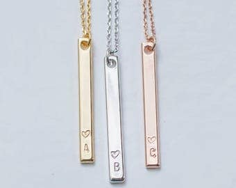 Name initial necklace , Initial Bar Necklace personalized Monogram Necklace bridesmaid personalized jewelry, wedding necklace