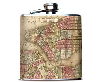 NEW YORK City Street MAP,  Collector Map, Hidden Flask, My Hometown Map, City map, Perfect Cocktail Flask, Best Man proposal Gift