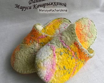 Handmade slippers, Felted slippers, Wool slippers, Woman slippers, orange slippers