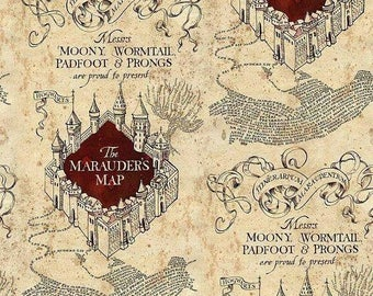 Harry Potter Marauder's Map Cotton Knit Fabric BTY