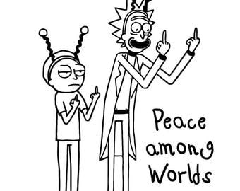 Peace among worlds - Rick and Morty inspired- vinyl decal - sticker - Car decal - Laptop sticker decal