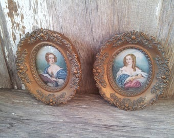 Beautiful Set of Two Cameo Creations Framed Portraits of Countess Cowper and Lady Cynthia Capel