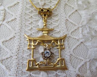 Crystal Pagoda Pendant Necklace