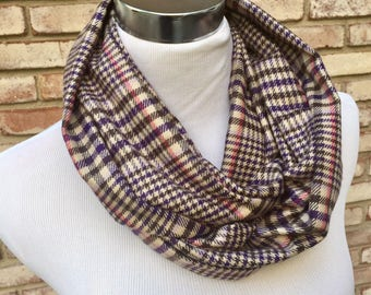 Infinity Scarf, Loop Scarf, Houndstooth Scarf, Plaid Scarf, Wool Scarf, Fashion Scarf, Warm Knit Cowl, Winter Scarf, Fleece Scarves, Gifts