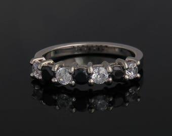 Engagement ring, Diamond engagement ring, Black diamond ring, Half eternity ring, White gold diamond ring, Diamond promise ring, 14k, 18k