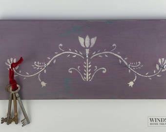 Lilac Key Rack, Key Holder, Jewellery Hanger, Painted Key Rack, Key Hooks, Painted Key Holder, Key Hanger, Mother's Day