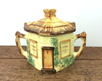 hand painted 'cottage ware' lidded sugar bowl, 1940's vintage ceramic, made in England