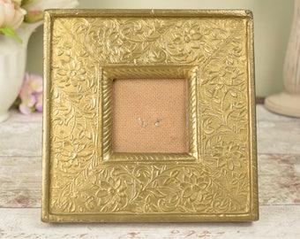 vintage embossed wide flat square photo frame, brass