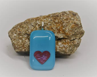 Turquoise and Copper Glass Pendant, Heart Pendant, Fused Glass, One of a Kind Pendants