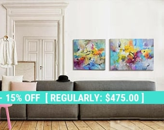 One Week Sale Modern Art Abstract Painting, Diptych, Original Painting Canvas  Art, Abstract