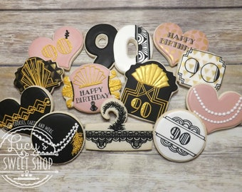 Gatsby Cookies - 20's Themed Cookies - Roaring Twenties Cookies - Retro Cookies - Flapper Cookies - Great Gatsby - 1920's