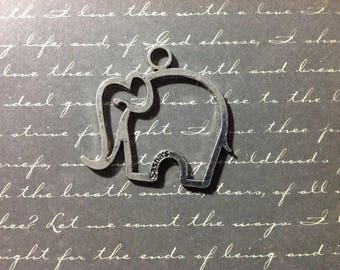 Large elephant space metal silver charm 35x38mm