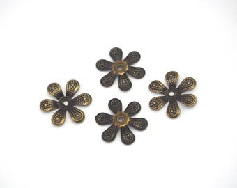 6 large metal bronze 18mm flower bead caps