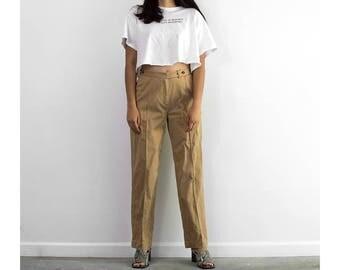 90s Ralph Lauren Riding Pants / Brown High Waisted Trousers / Medium