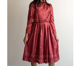 70s Japanese Evening Rose Party Dress / Extra Small-Small