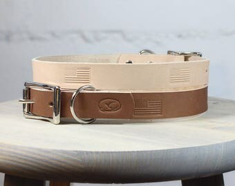 American Flag Stamped Thick Leather Dog Collar